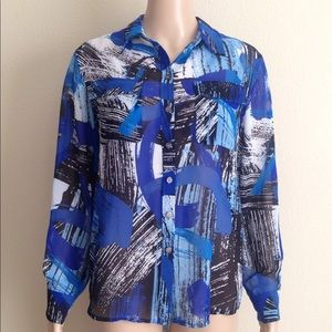 Two by Vince Camuto sheer long sleeve blouse, XS